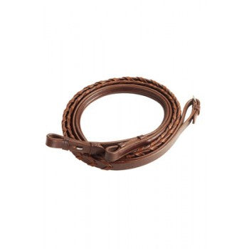 VESPUCCI PLAIN RAISED LACED REINS, BROWN 54 INCH