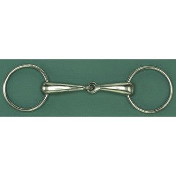 CENTAUR GERMAN SILVER LOOSE RING SNAFFLE BIT, 18 MM SOLID MOUTH