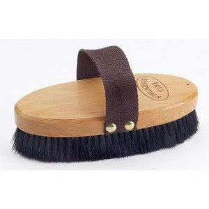 "EQUINE ESSENTIALS WOODBACK HORSESHOE BODY BRUSH WITH SOFT HORSE HAIR BRISTLES, LARGE - 7"" LONG"