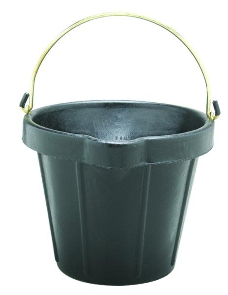 FORTEX HEAVY DUTY RUBBER PAIL WITH BRASS FITTINGS AND POURING LIP, 11 LITRE