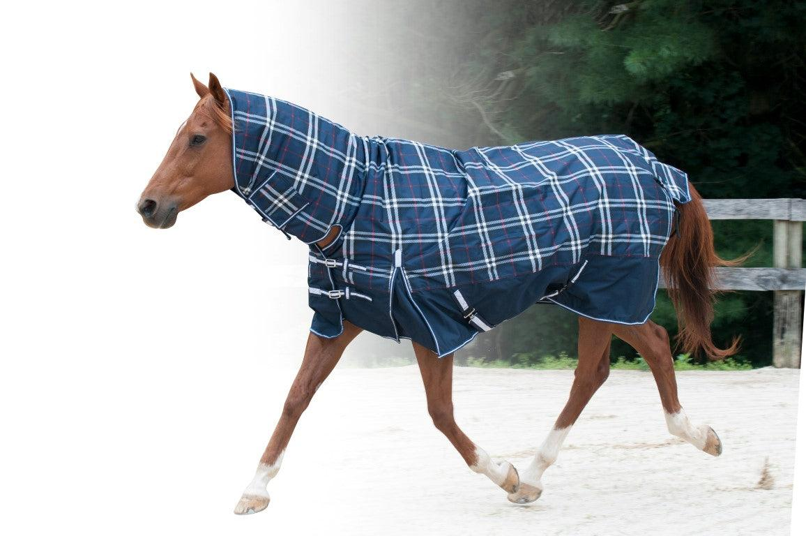 "CENTURY TIGER 600D COMBO FULL NECK TURNOUT BLANKET 68""-84"" NAVY CIRCLES"