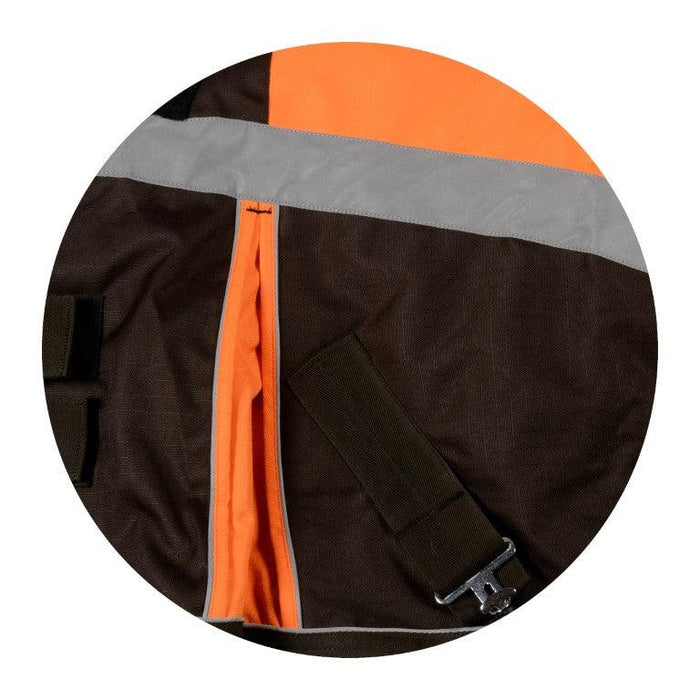 "CENTURY HI-VIS 600D TURNOUT WITH REFLECTIVE STRIPE 68""-84"" FLUORESCENT ORANGE/BROWN"