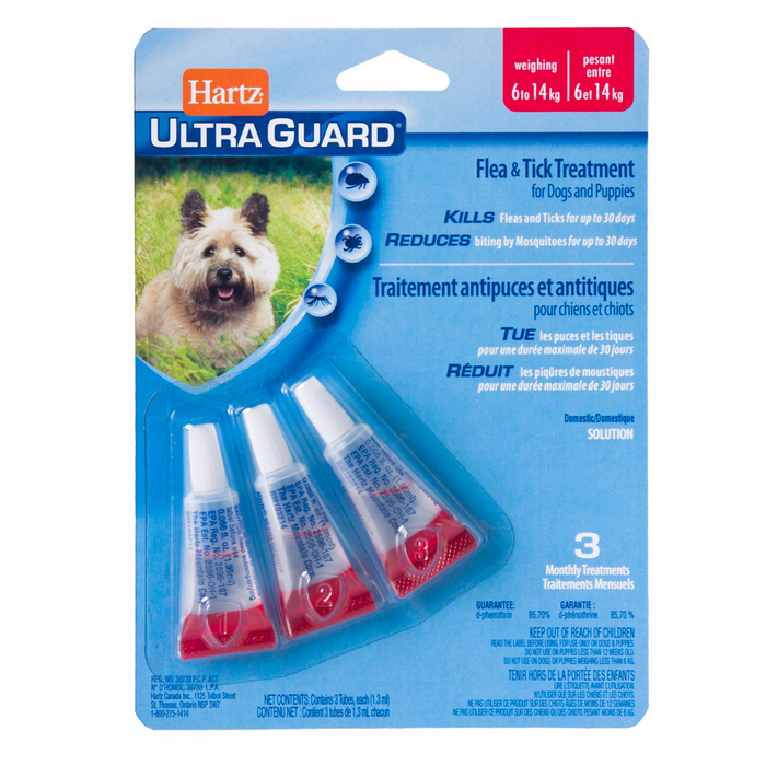 HARTZ ULTAGUARD FLEA AND TICK TREATMENT FOR DOG AND PUPPIES - 6KG TO 14KG