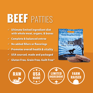 VITAL ESSENTIALS BEEF PATTIES FREEZE-DRIED GRAIN FREE DOG FOOD