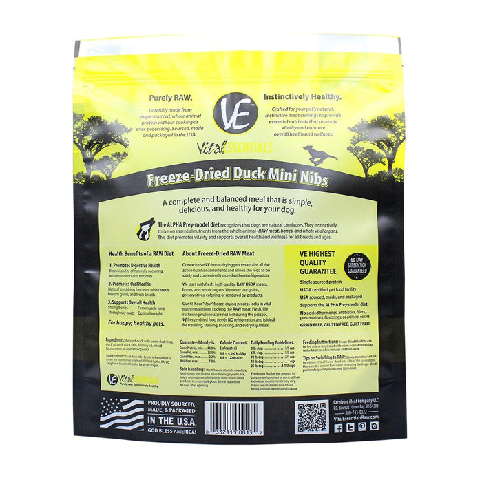 VITAL ESSENTIALS DUCK MINI NIBS FREEZE-DRIED GRAIN FREE DOG FOOD - TackN'Bark