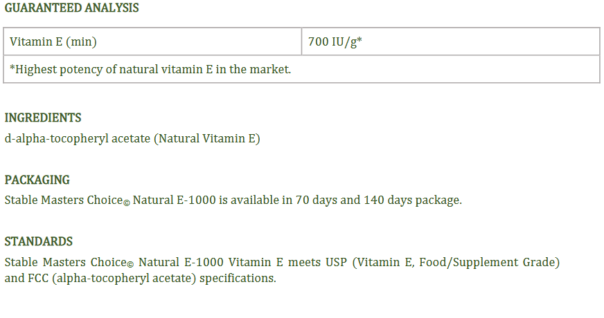 STABLE MASTERS CHOICE, 100% NATURAL VITAMIN E