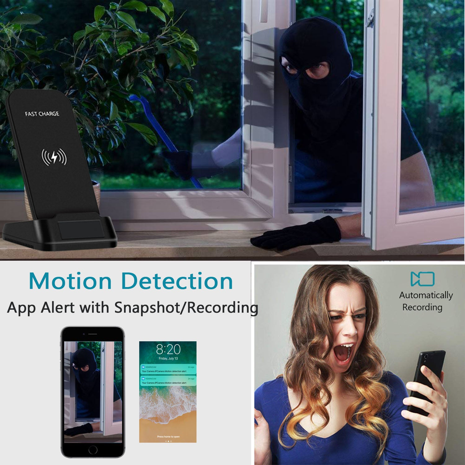Phone Wireless Charger Camera