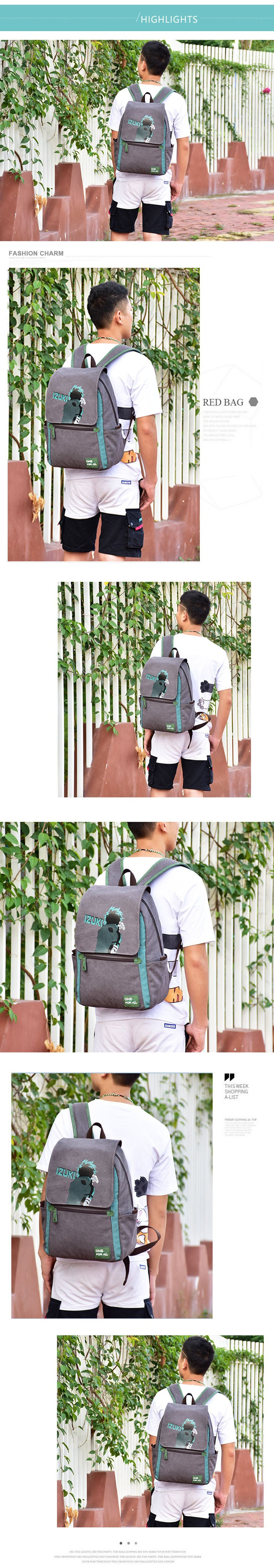 My Hero Academia Backpack Midoriya Izuku One For All Fans Bag