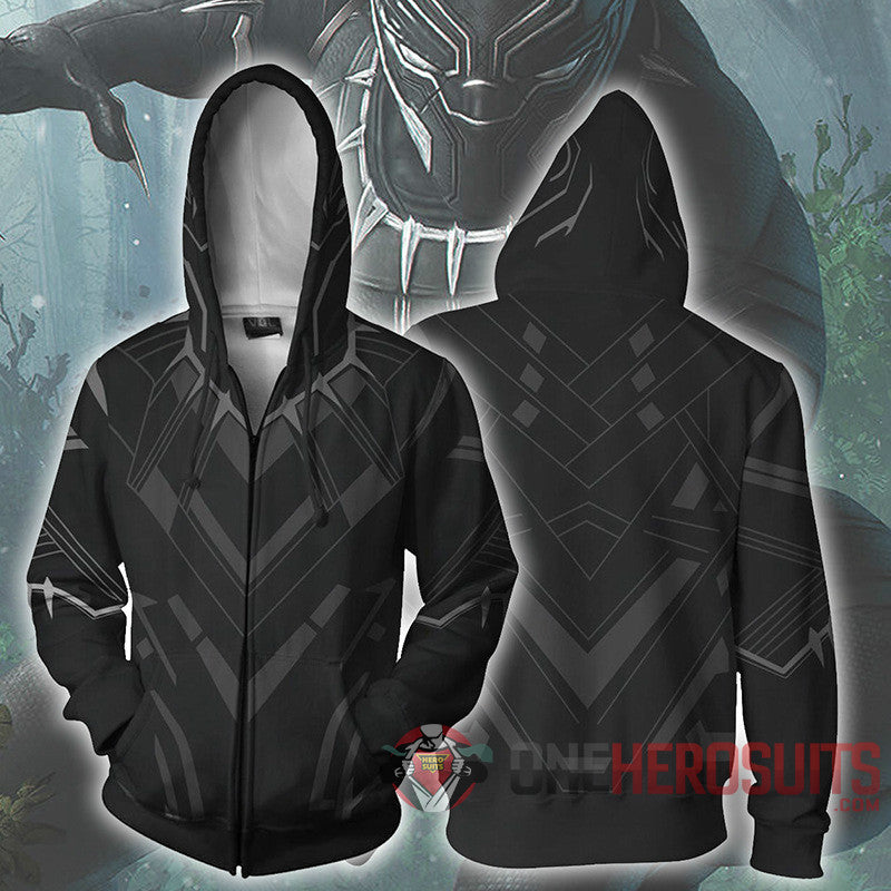 Black Panther Hoodies T Challa Printed Zip-Up Creative Printed Zip-Up Hooded Sweatshirt