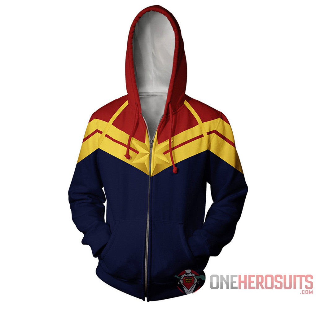 Captain Marvel Hoodies HQ Printed Zip-Up Creative Printed Zip-Up Hooded Sweatshirt