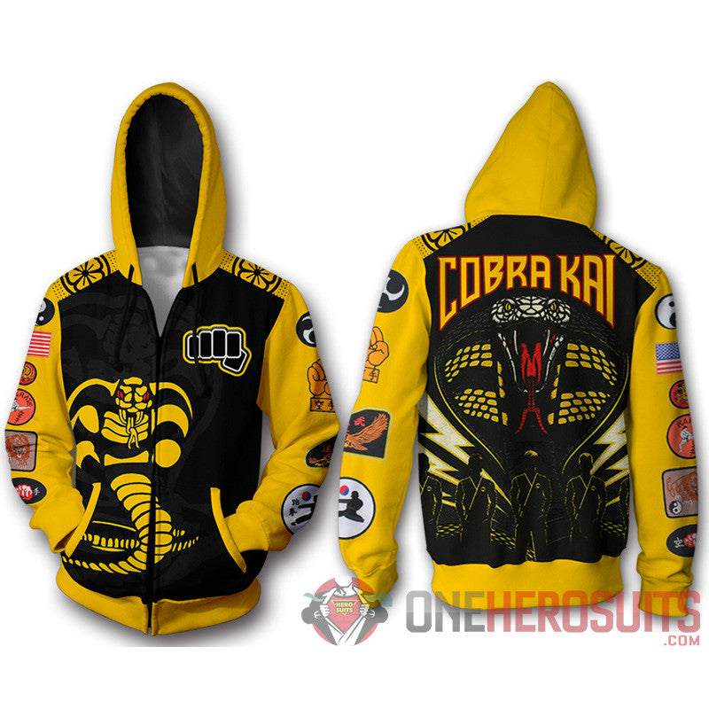 Cobra Kai Hoodies Yellow Cobra Creative Printed Hooded Sweatshirt