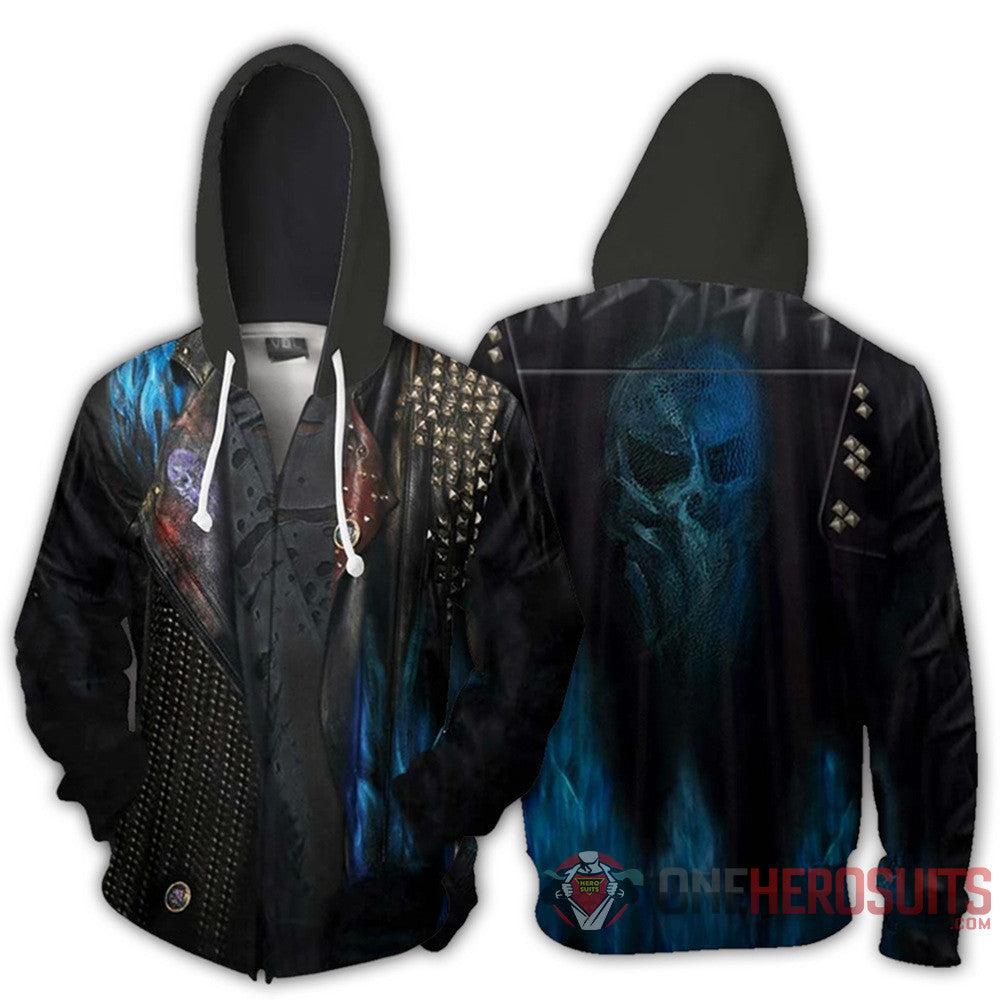 Descendants Hades Hoodies Creative Printed Zip-Up Hooded Sweatshirt