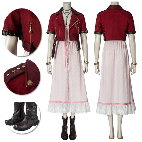 Aerith Gainsborough Cosplay Costumes Final FantasyVII Pink Cosplay Suit