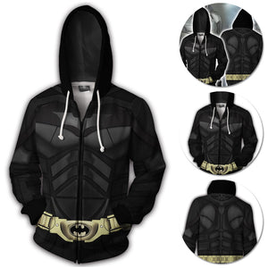 Batman Hoodie Batsuit Creative Printed Zip-Up Hooded Sweatshirt