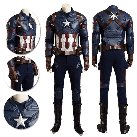 Captain America Cosplay Costume Civil War Movie Level Leather Cosplay Suits
