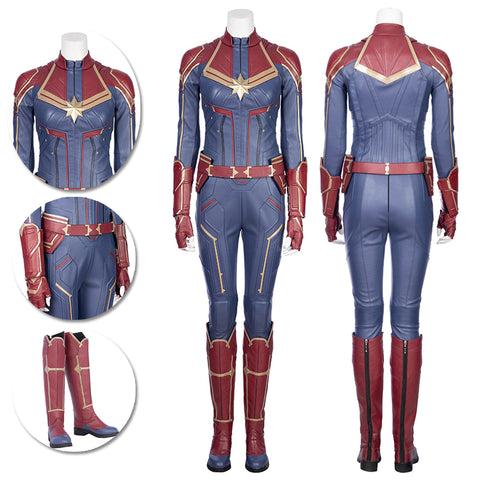 Captain Marvel Blue Cosplay Costumes Carol Danvers High Boots Version