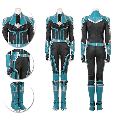 Captain Marvel Green Cosplay Costume StarForce Uniform Suits