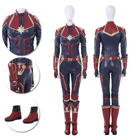 Captain Marvel Red Cosplay Costumes Carol Danvers Leather Suits Deep Red
