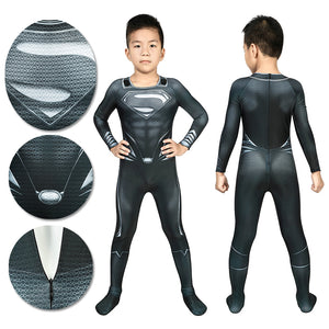 Christmas Gifts For Kids Superman Black Cosplay Suit With Cloak