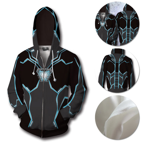 Iron Man Hoodies Iron Heart Blue Creative Printed Zip-Up Hooded Sweatshirt