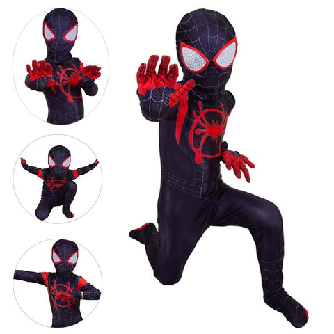 Kids Miles Morales Cosplay Suit Into The Spider Verse Spandex BodySuit
