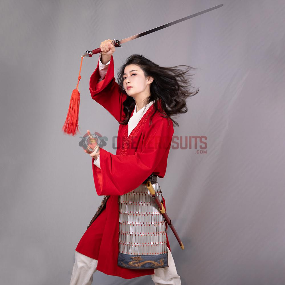 Mulan 2020 New Style Red Cosplay Costumes Oneherosuits