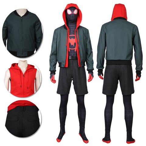 Miles Morales Cosplay Costumes Spider Man Into The Spider Verse Miles Green Coat
