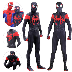 Miles Morales Spandex Suit Halloween Black Spider Cosplay Bodysuit