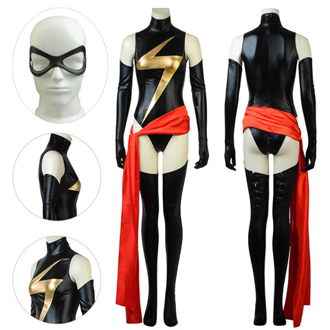 Ms.Marvel Suit Classic Black Bodysuit With Long Belt