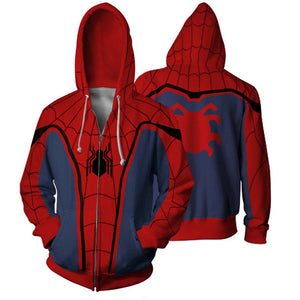 Spider-man Hoodies Creative Printed Zip-Up Hooded Sweatshirt Collection