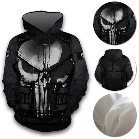 The Punisher Hoodies Creative 3D Print Pullover Hooded Sweatshirt