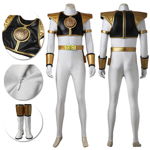 White Ranger Cosplay Costume Mighty Morphin Power Rangers Suit