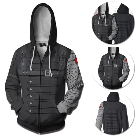 Winter Soldier Hoodie Creative Printed Zip-Up Hooded Sweatshirt