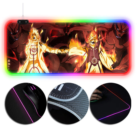 Naruto Mouse Pad Double Nine Tailed Fox Printed RGB Gaming Mouse Pad Extra Large