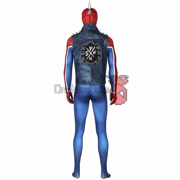 Punk-Rock Spidey Suit Hobart Brown Bodysuit With Vest