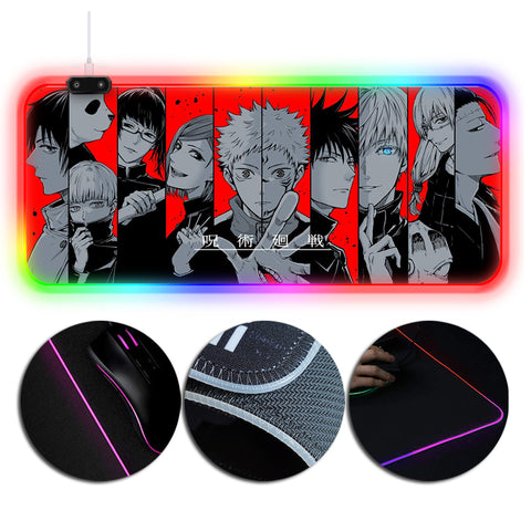 Sorcery Fight Mouse Pad Jujutsu Kaisen Characters Printed RGB Gaming Mouse Pad