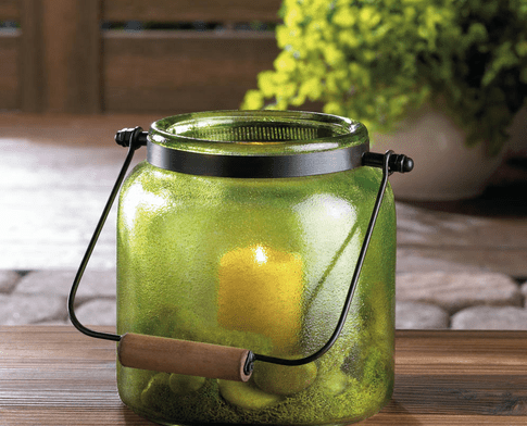 Green Jar Candle Lantern