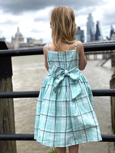 jennie dress in aqua check