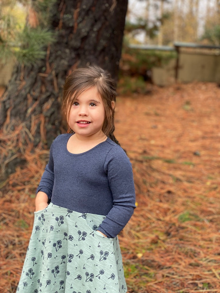 merilee dress in teal dandelion
