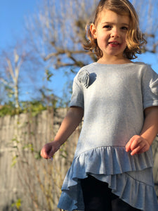 polly dress in sky