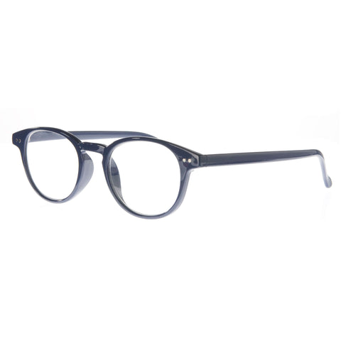 navy classic round reading glasses