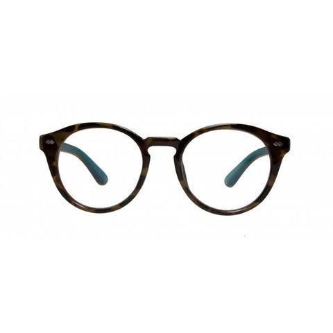 tortoiseshell & blue round reading glasses