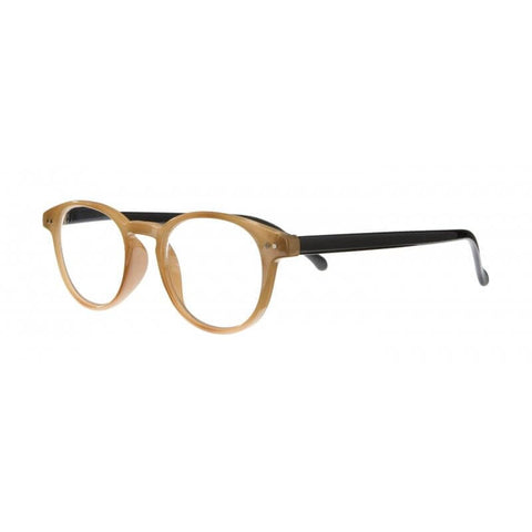 caramel & black classic round reading glasses