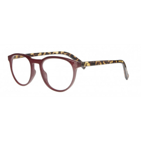 burgundy & tortoiseshell round reading glasses