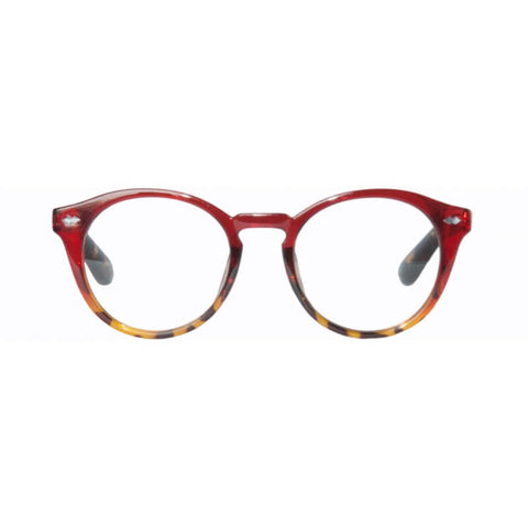 clear red & tortoiseshell round reading glasses