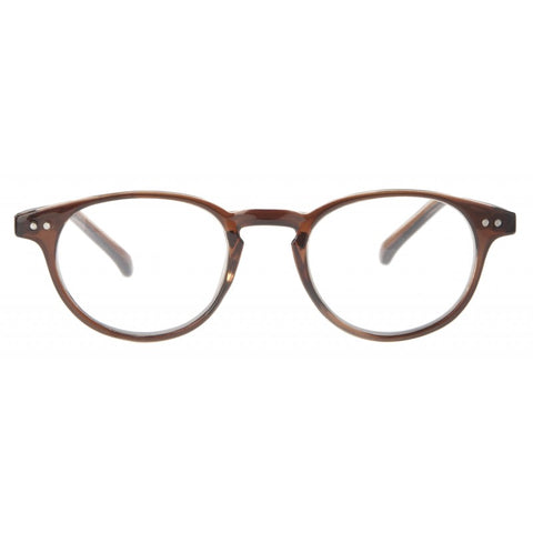 clear brown classic round reading glasses