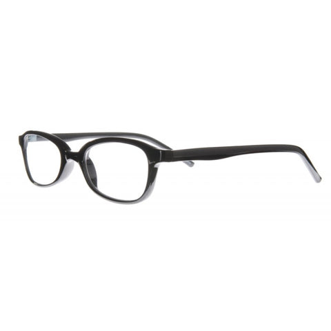 914b5a14a7 Thin plastic half moon reading glasses with a gloss black finish