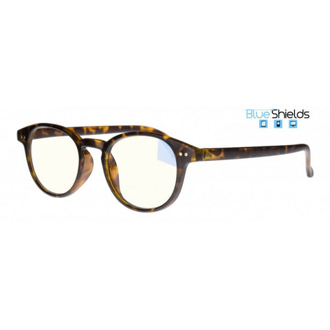round tortoiseshell (blue shields) reading glasses