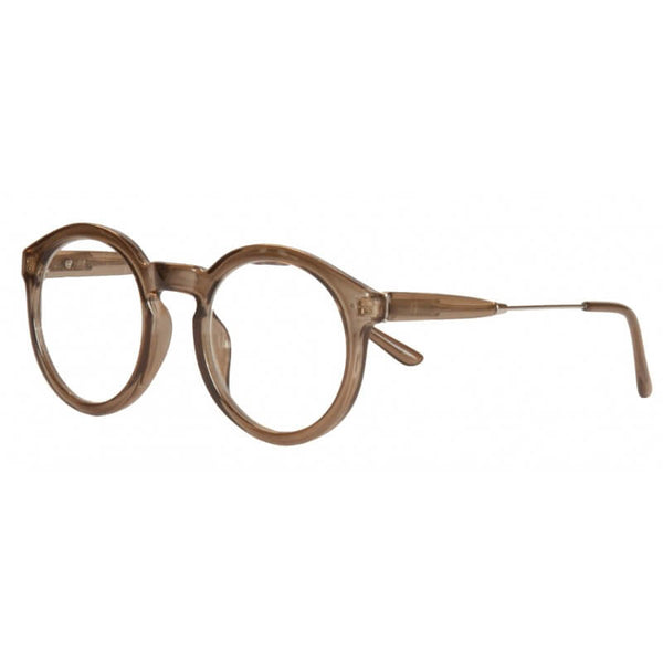clear brown round reading glasses