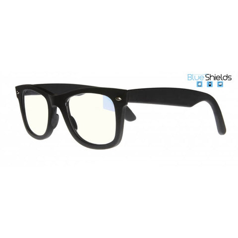 black wayfarer blue shields reading glasses